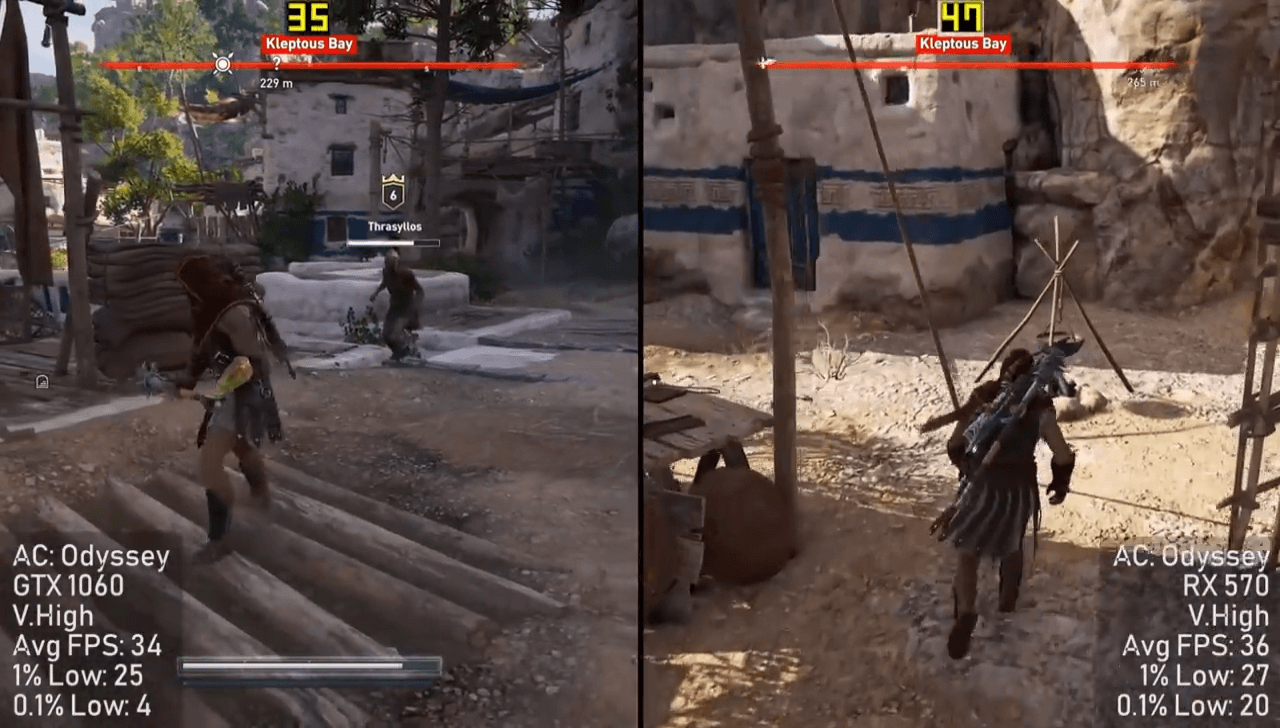Assassin's Creed Odyssey RX 570 VS GTX 1060